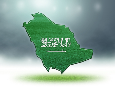 Saudi Arabia map colour design with grass texture of soccer fields,3D render Stockfoto