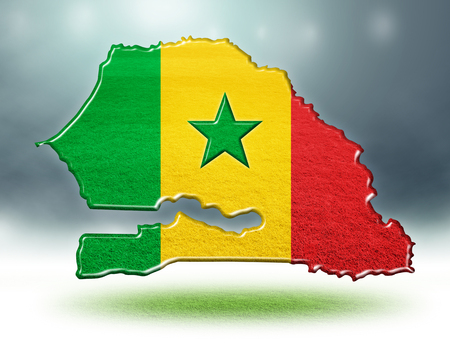 Senegal map design with flag colouf and grass texture of soccer fields,3d rendering