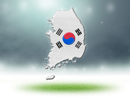 South korea map colour design with grass texture of soccer fields,3d render Stockfoto