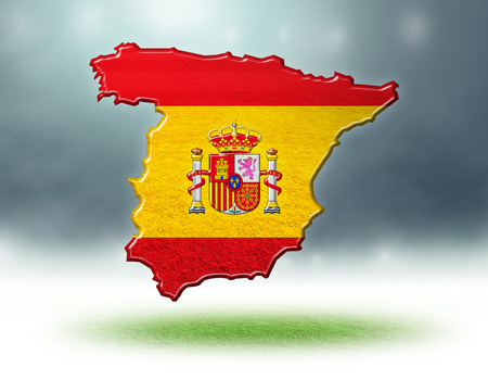 Spain map colour design with grass texture of soccer fields,3d render