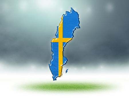 Sweden map design with flag colouf and grass texture of soccer fields,3d rendering