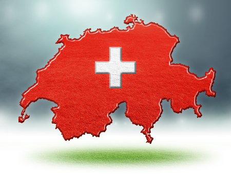 Switzerland map design with flag colouf and grass texture of soccer fields,3d rendering