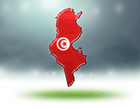 Tunisia map design with flag colouf and grass texture of soccer fields,3d rendering