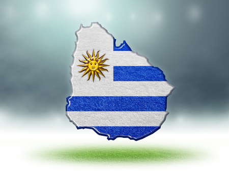 Uruguay map colour design with grass texture of soccer fields,3d render Stockfoto
