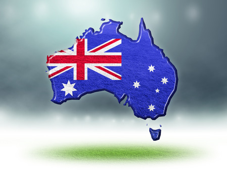 Australia map colour design with grass texture of soccer fields,3D render