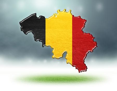 Belgium map colour design with grass texture of soccer fields,3d rendering