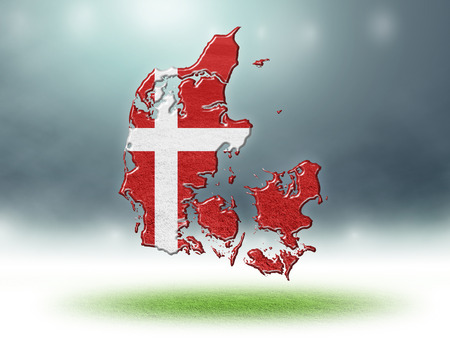 Denmark map design by flag colour with grass texture of soccer fields,3D rendering