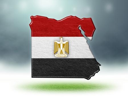 Egypt map colour design with grass texture of soccer fields,3d render