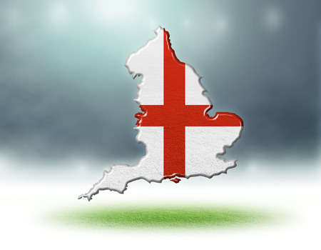 England map design with flag colouf and grass texture of soccer fields,3d rendering Stockfoto