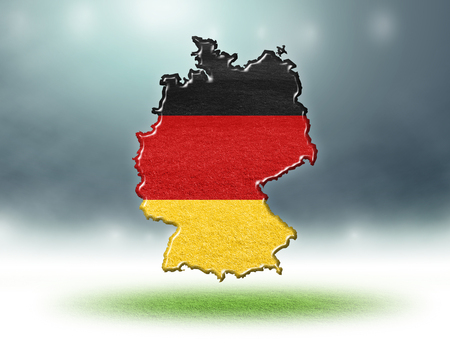 Germany map colour design with grass texture of soccer fields,3d render