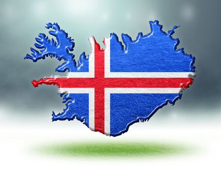 Iceland map colour design with grass texture of soccer fields,3D render