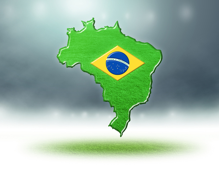 Brazil map colour design with grass texture of soccer fields,3d render Stockfoto