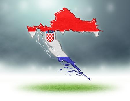 Croatia map colour design with grass texture of soccer fields,3d render