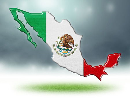 Mexico map colour design with grass texture of soccer fields,3d render Stockfoto