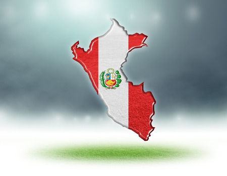 Peru map colour design with grass texture of soccer fields,3d render