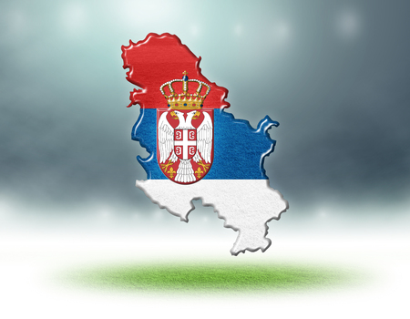 Serbia map colour design with grass texture of soccer fields,3d render