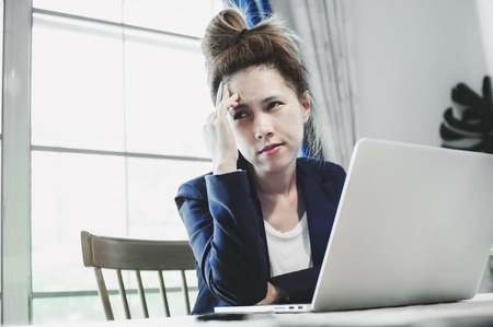 young business woman having a lot hard work and many trouble per day Stockfoto