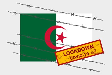 Algeria flag with signboard lockdown warning security due to coronavirus crisis covid-19 disease design with barb wired isolate vector