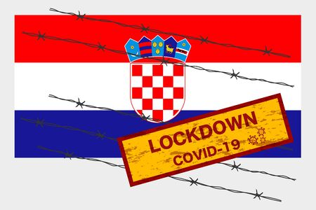 Croatia flag with signboard lockdown warning security due to coronavirus crisis covid-19 disease design with barb wired isolate vector