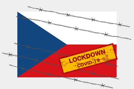 Czech Republic flag with signboard lockdown warning security due to coronavirus crisis covid-19 disease design with barb wired isolate vector