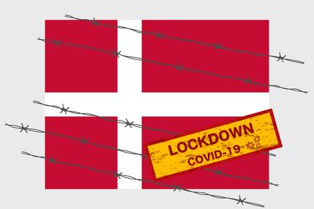 Denmark flag with signboard lockdown warning security due to coronavirus crisis covid-19 disease design with barb wired isolate vector 일러스트