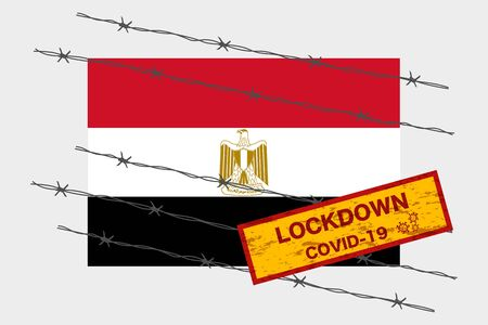 Egypt flag with signboard lockdown warning security due to coronavirus crisis covid-19 disease design with barb wired isolate vector