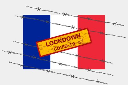 France or French flag with signboard lockdown warning security due to coronavirus crisis covid-19 disease design with barb wired isolate vector