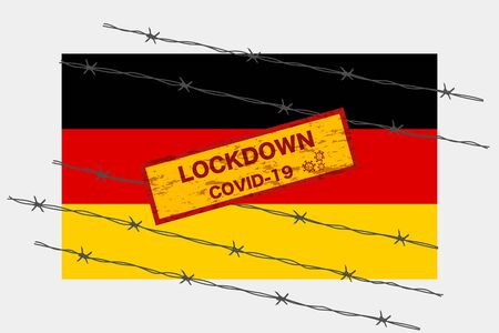 Germany flag with signboard lockdown warning security due to coronavirus crisis covid-19 disease design with barb wired isolate vector