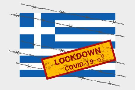 Greece flag with signboard lockdown warning security due to coronavirus crisis covid-19 disease design with barb wired isolate vector 일러스트