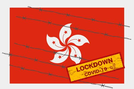 Hong Kong with signboard lockdown warning security due to coronavirus crisis covid-19 disease design with barb wired isolate vector 일러스트
