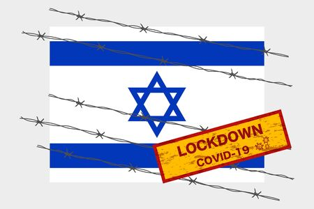 Israel flag with signboard lockdown warning security due to coronavirus crisis covid-19 disease design with barb wired isolate vector Vectores