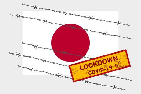 Japan flag with signboard lockdown warning security due to coronavirus crisis covid-19 disease design with barb wired isolate vector  イラスト・ベクター素材