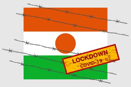 Niger flag with signboard lockdown warning security due to coronavirus crisis covid-19 disease design with barb wired isolate vector