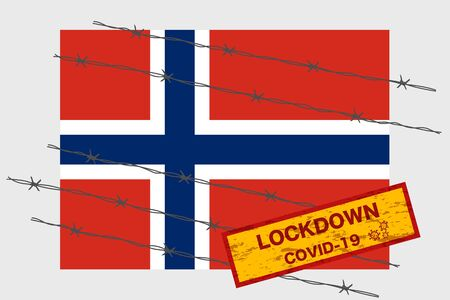 Norway flag with signboard lockdown warning security due to coronavirus crisis covid-19 disease design with barb wired isolate vector