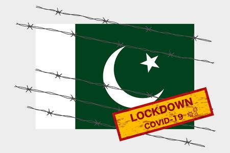 Pakistan flag with signboard lockdown warning security due to coronavirus crisis covid-19 diseas design with barb wired isolate vector