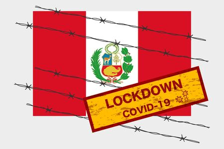 Peru flag with signboard lockdown warning security due to coronavirus crisis covid-19 disease design with barb wired isolate vector