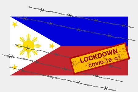 Philippines flag with signboard lockdown warning security due to coronavirus crisis covid-19 disease design with barb wired isolate vector