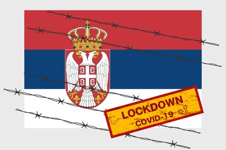 Serbia flag with signboard lockdown warning security due to coronavirus crisis covid-19 disease design with barb wired isolate vector 일러스트