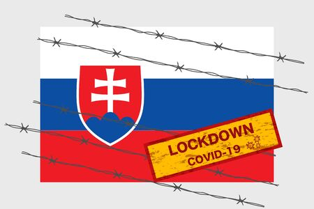 Slovakia flag with signboard lockdown warning security due to coronavirus crisis covid-19 disease design with barb wired isolate vector