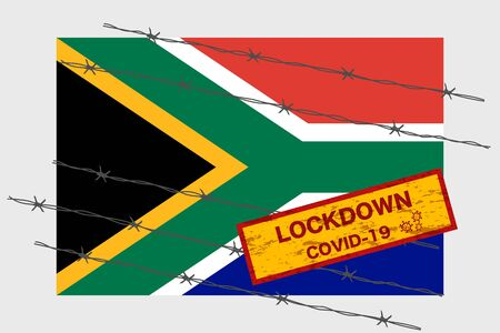 South Africa flag with signboard lockdown warning security due to coronavirus crisis covid-19 disease design with barb wired isolate vector