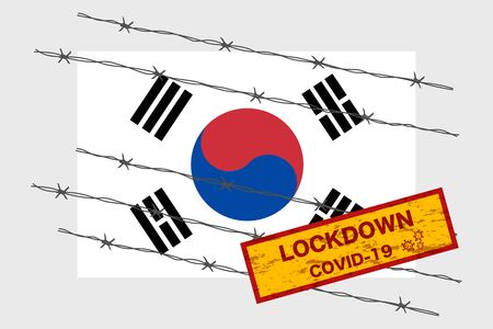 South Korea flag with signboard lockdown warning security due to coronavirus crisis covid-19 disease design with barb wired isolate vector 일러스트
