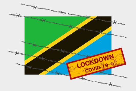 Tanzania flag with signboard lockdown warning security due to coronavirus crisis covid-19 disease design with barb wired isolate vector
