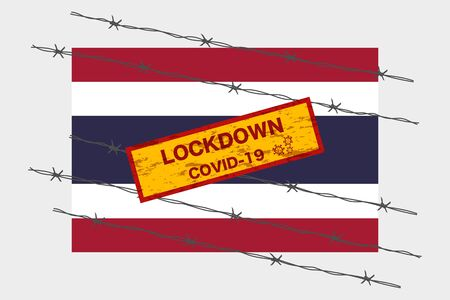 Thailand flag with signboard lockdown warning security due to coronavirus crisis covid-19 disease design with barb wired isolate vector