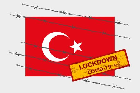 Turkey flag with signboard lockdown warning security due to coronavirus crisis covid-19 disease design with barb wired isolate vector