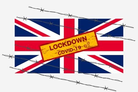 United Kingdom state or UK flag with signboard lockdown warning security due to coronavirus crisis covid-19 disease design with barb wired isolate vector 일러스트