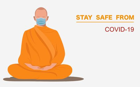 Thai monk wearing surgical face mask meditate calm the mind pray for covid Disappear from this world vector 일러스트