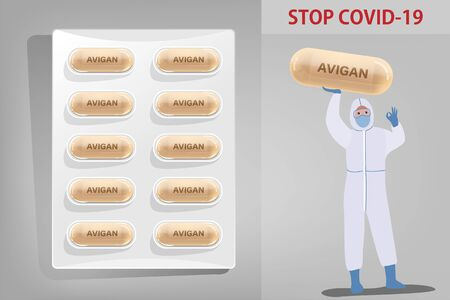 Medicine Capsule pack of Avigan drug for antiviral to treat Covid-19 and doctor in protective suits and arms raise showing realistic drug capsule isolate Coronavirus disease Vector illustration concept