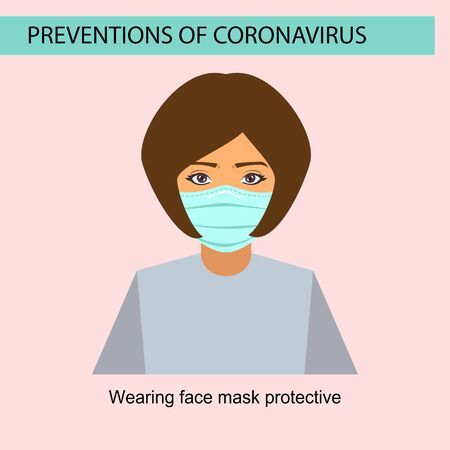 Preventions of coronavirus symptom with wearing face mask step Vector illustration 일러스트
