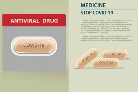 Medicine capsule drug to treat virus include Covid-19 or  Coronavirus Disease Vector illustration Design