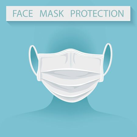 Protection Medical face mask isolate with  Anti virus element prevention concept